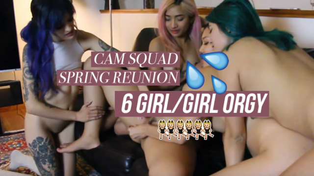 Cam Squad Spring Reunion: 6 G/G ORGY video from Avery Black
