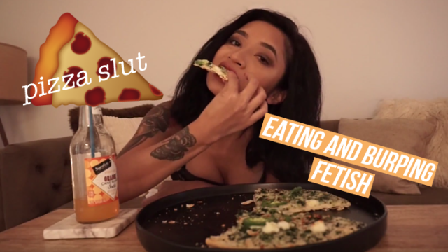Pizza Slut: Eating/Burping Fetish video from Avery Black