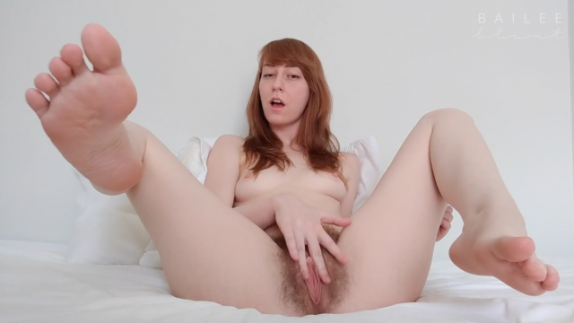 Lingerie Strip + Fingering Cum / Unshaved video by Bailee Blunt
