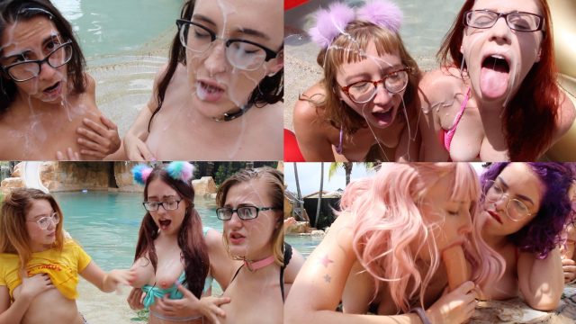 9 Girl Blowbang & Cumshot on Glasses video by Chloe Cassidy
