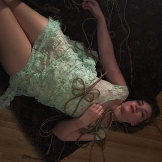 Sheer Lace Mint Dress Rope Night (aka Tampon String Shibari) photo gallery by Lima Charlie