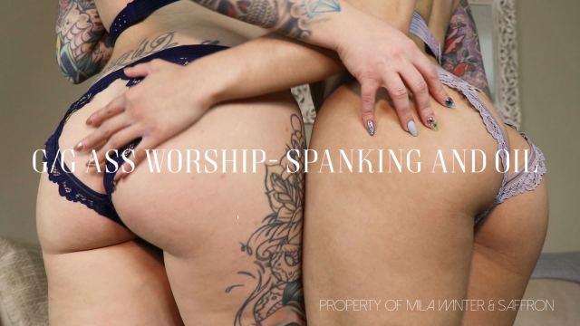 G/G Ass Worship- Spanking and Oil video by Mila Winter
