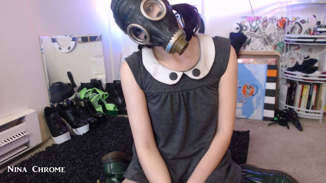 Gas Mask Orgasm video by Nina Chrome