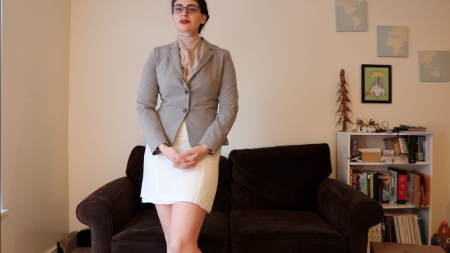 Sexy brunette boss will fire you unless you become her worshiping slave video from Norah Solano
