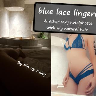 Blue lace lingerie & other sexy hotel pictures photo gallery by Pin Up Daisy