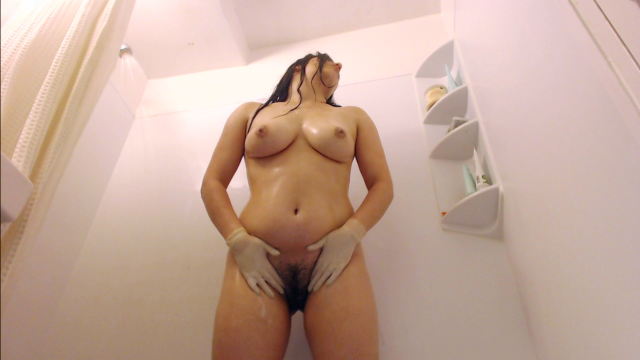 Shower Orgasm with Tight White Latex Gloves video from Pira