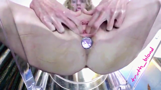 Squirting Clear Chair POV UpSkirt Pussy Squirt video from Truth Blond