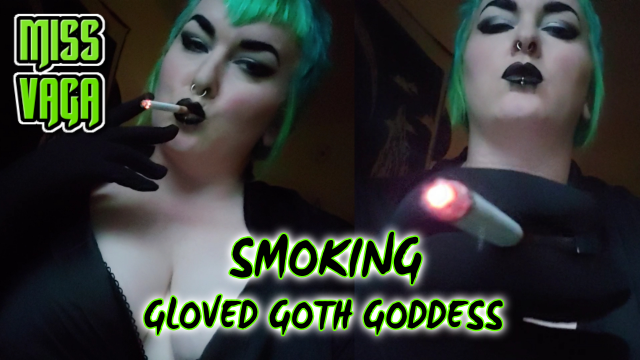 SMOKING: Gloved Goth Goddess video from Vaga Bong