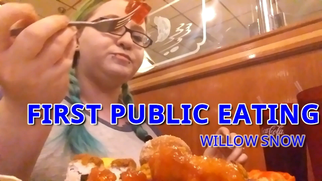 BBW First public eating Chinese buffet video by WillowSnow